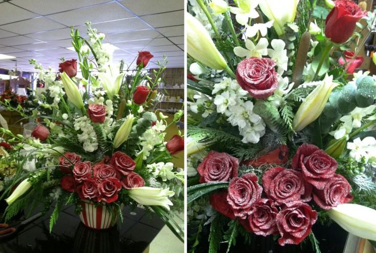 Snowy roses by Swannanoa Flower Shop, Swannanoa NC
