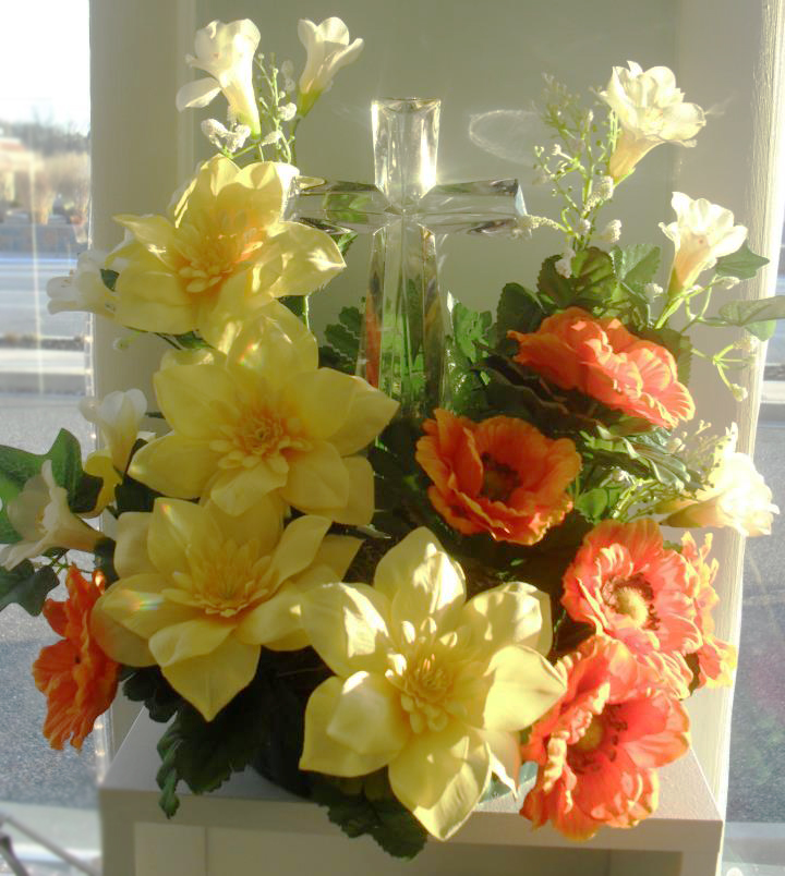 Orange and yellow sympathy flowers by Buds & Blossoms, Edgewood MD
