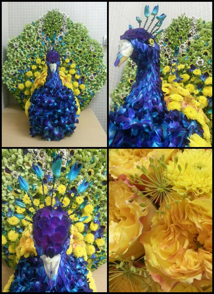Floral peacock with details by Flower Palette, Abu Dhabi