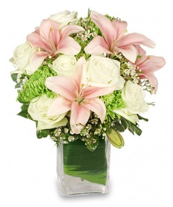 Soft pink and white flowers for Valentine's Day