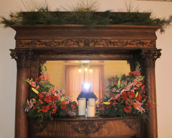 Mantle wedding decor by Libby's Flowers, Gifts & More, Elberton GA
