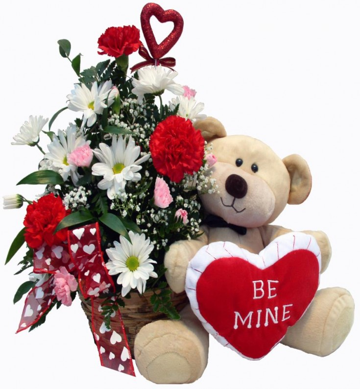 Be Mine teddy with flowers by Roxanne's Flowers, Akron PA