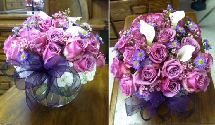Purple bubble bowl arrangement by Swannanoa Flower Shop, Swannanoa NC