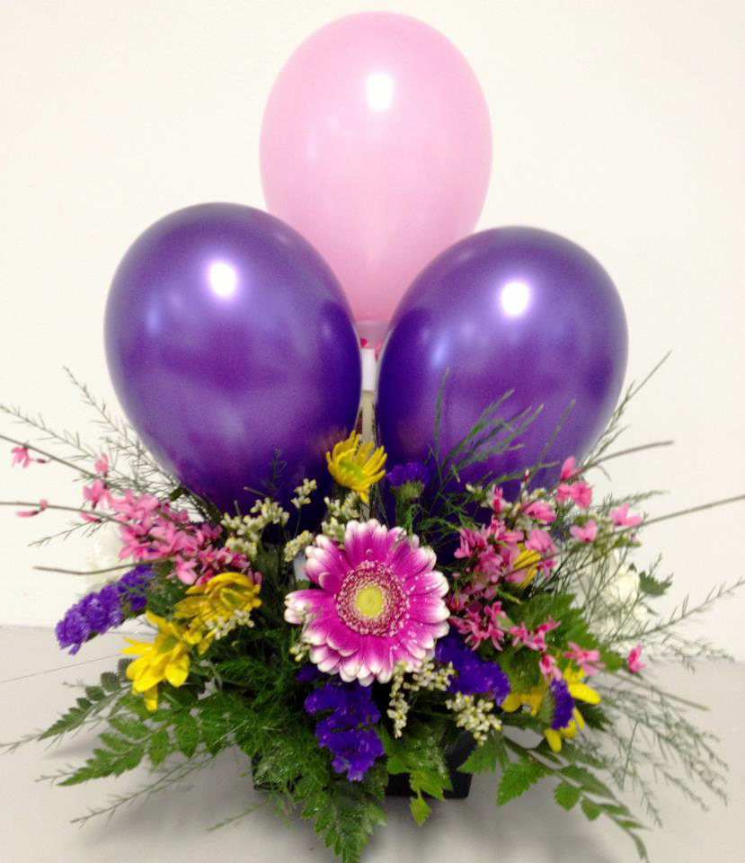 Balloons and flowers by Auburn Classic Florist, Auburn IN