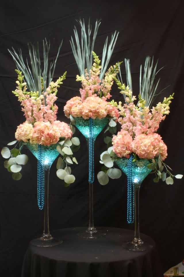 Sweet 16 centerpieces by Crossroads Florist, Mahwah NJ