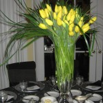 Yellow gala centerpiece at the 2013 Great Lakes Floral Expo