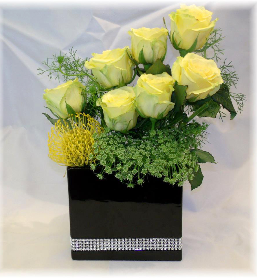 Yellow and green arrangement by MaryJane's Flowers & Gifts, Berlin NJ