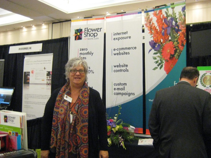 Our own Leslie Cox inside the FSN Booth at the Northeast Floral Expo