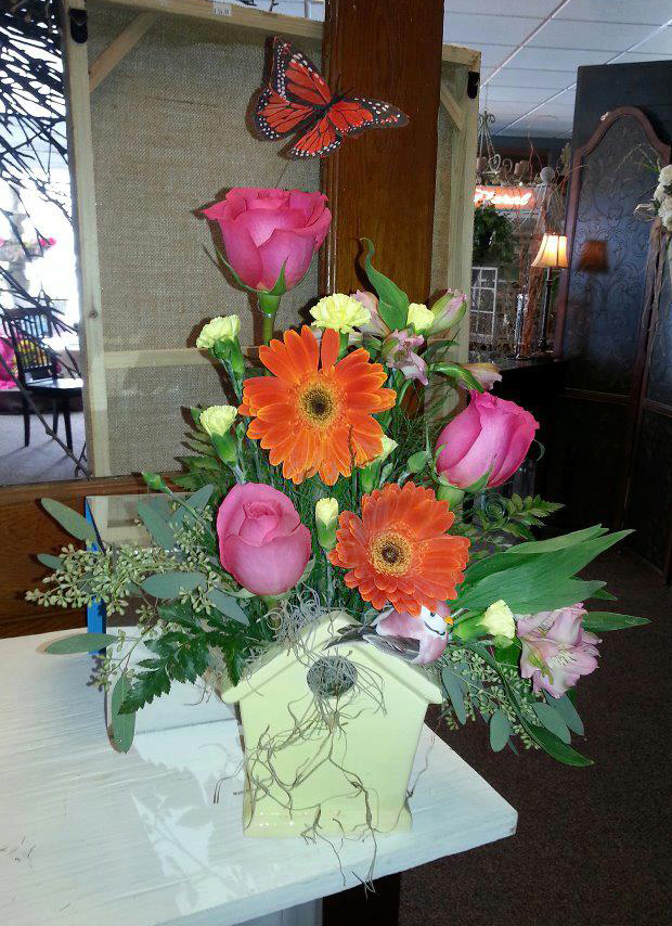 Birdhouse spring flowers by Platte Floral & Rental, Platte SD