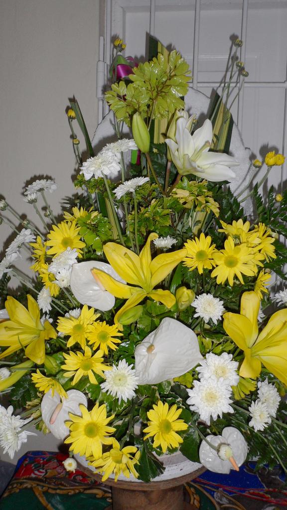 Bright yellow design by Seju Selektion Florist, Bridgetown Barbados