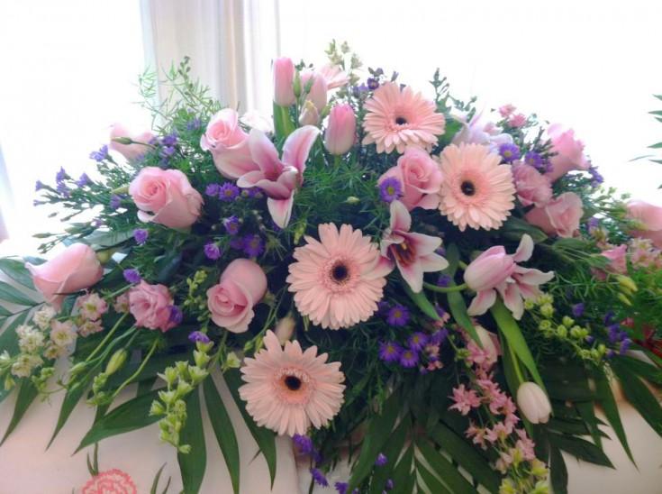 Pink sympathy flowers by Bev's Floral, Parowan UT
