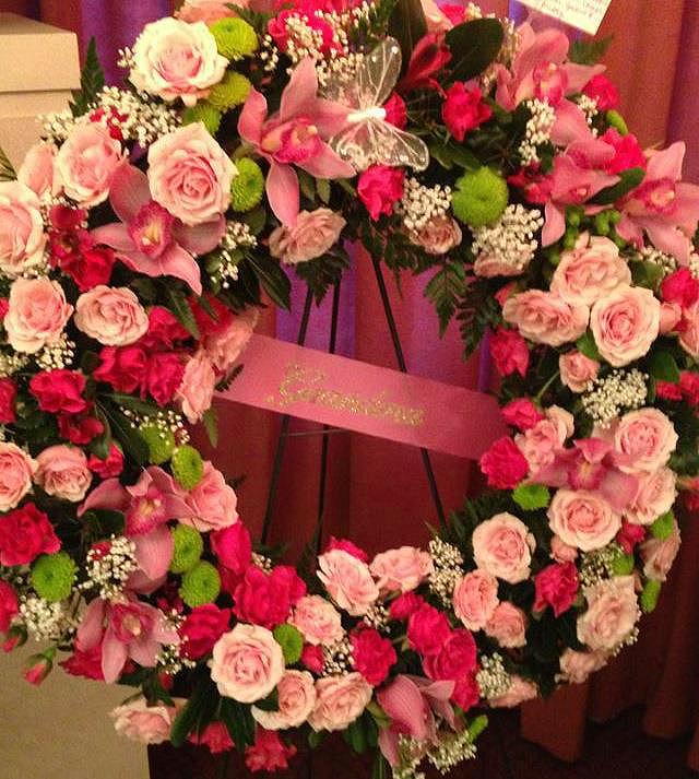 Pink funeral wreath by Bev's Floral & Gifts, Parowan UT