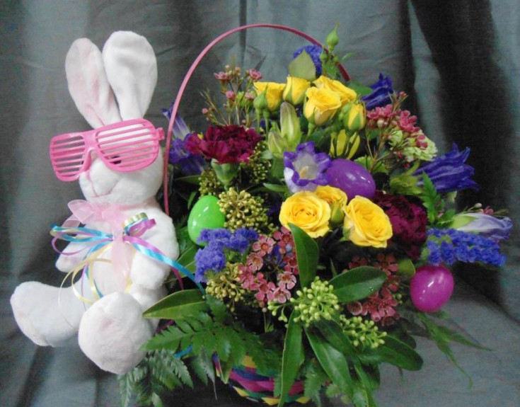 Adorable Easter bunny flowers from Bucket's Fresh Flower Market, Abbotsford, BC