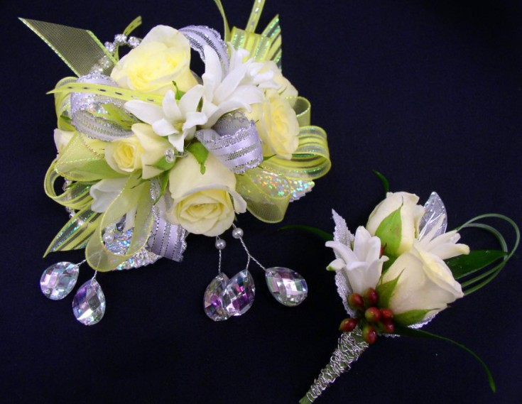 Prom corsage and boutonniere designs by The Flower Patch & More, Bolivar MO