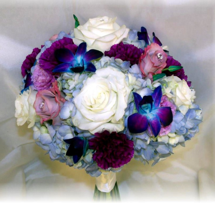 Lovely blue and white wedding bouquet by MaryJane's Flowers & Gifts, Berlin NJ