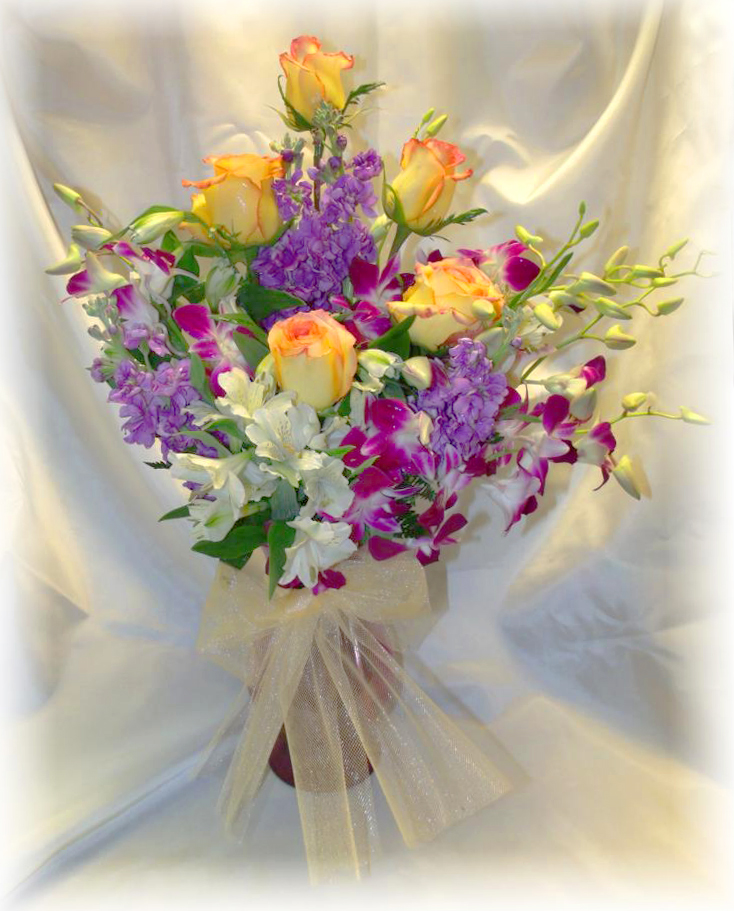 Beautiful orchid and rose bouquet by MaryJane's Flowers & Gifts, Berlin NJ