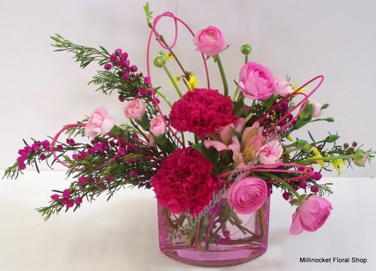 Playful pink floral design by Millinocket Floral Shop, Millinocket ME