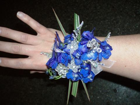 Blue prom corsage by A New Leaf Flowers & Gifts, Madison WI