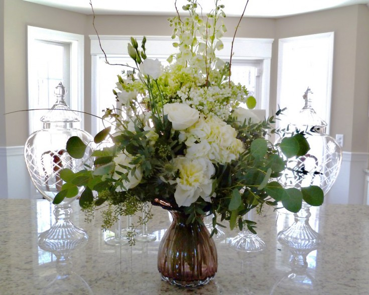 Beautiful all-white design by Paisley Floral Design, Manchester NH