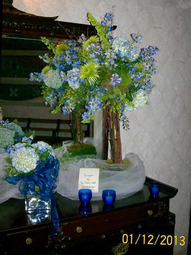 Blue wedding flowers by The Plant Nook, Jonesville MI