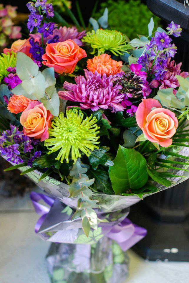 Colorful floral bouquet by Scarecrow Flowers, Dublin Ireland