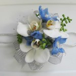 Blue & white prom flowers by A'Bloom LTD, Walkersville MD