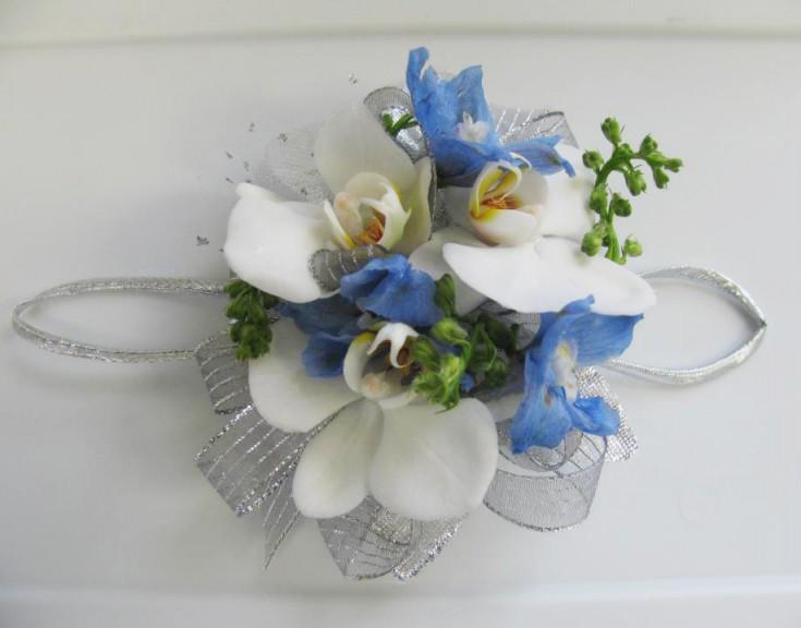 Blue & white prom flowers by A'Bloom LTD, Walkersville MD