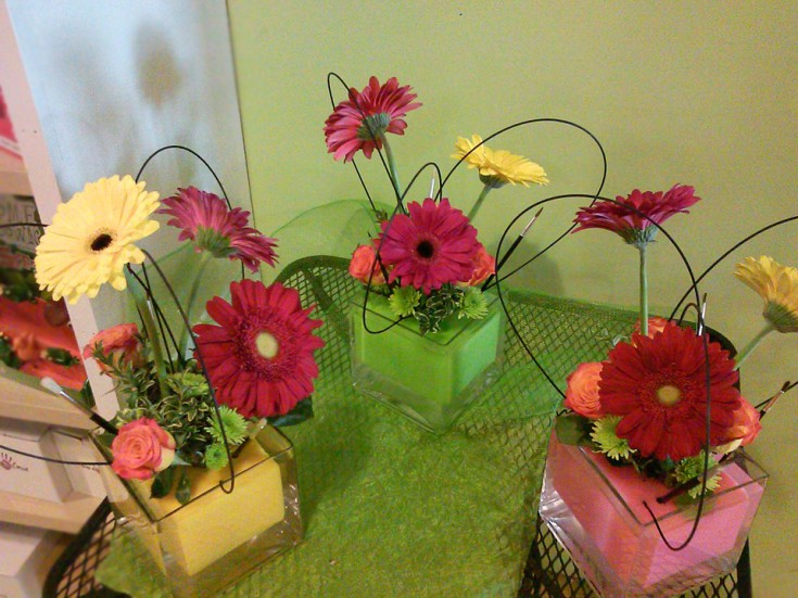 Party centerpieces for an artsy birthday by Back to the Fuchsia Florist, Saugatuck MI