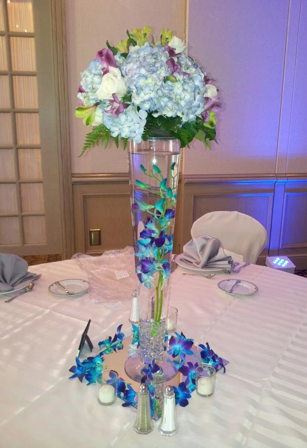 Orchid & hydrangea centerpiece by MaryJane's Flowers & Gifts, Berlin NJ