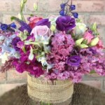 Beautiful purple flower arrangement by Vintage Garden Flowers, Fairfield CT