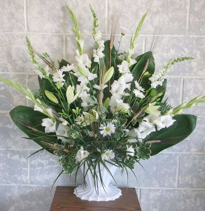 White sympathy tribute by A-1 Flowers & More, Cottonwood ID