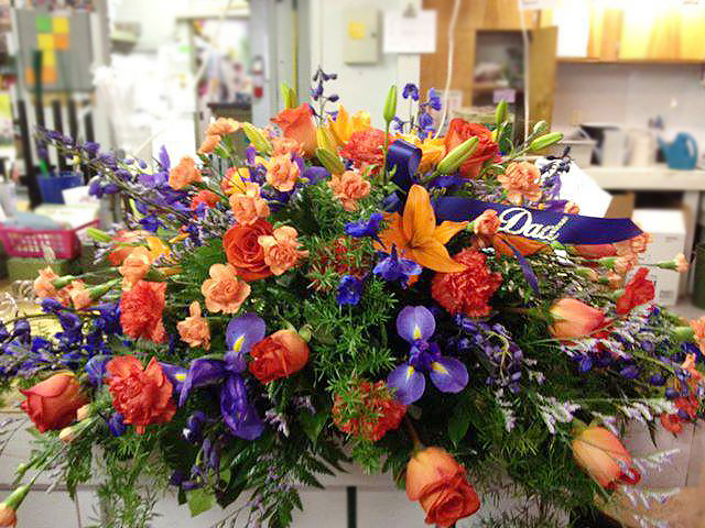 Detroit Tigers themed Funeral Flowers by Bentley Florist, Burton MI