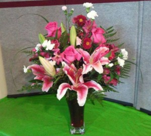 Pink lily arrangement by Cottage Flowers, Pasadena TX