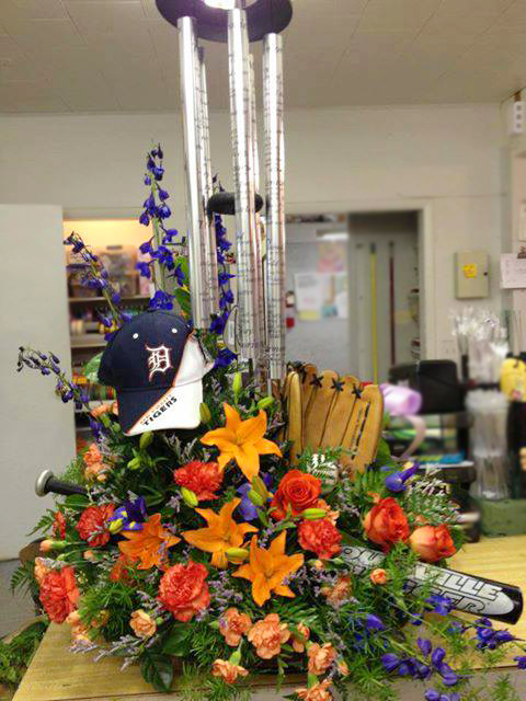 Detroit Tigers Sympathy Tribute by Bentley Florist, Burton MI