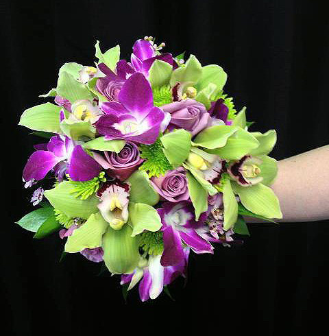 Purple & green wedding bouquet by Jocelyn's Floral INC, Cedar City UT