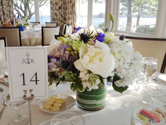 Wedding centerpiece by Vintage Garden Florist, Fairfield CT
