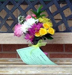 Bouquet on a Park Bench