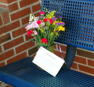 Bouquet on a City Bench
