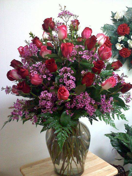 Beautiful red rose arrangement by Carthage Flower Shop, Carthage TX