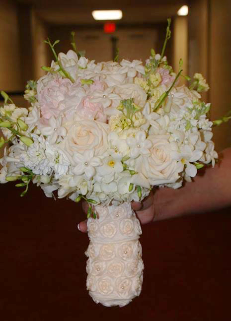 Bridal Bouquet with a touch of blush by Expressions Flowers in FOrt Smith AR
