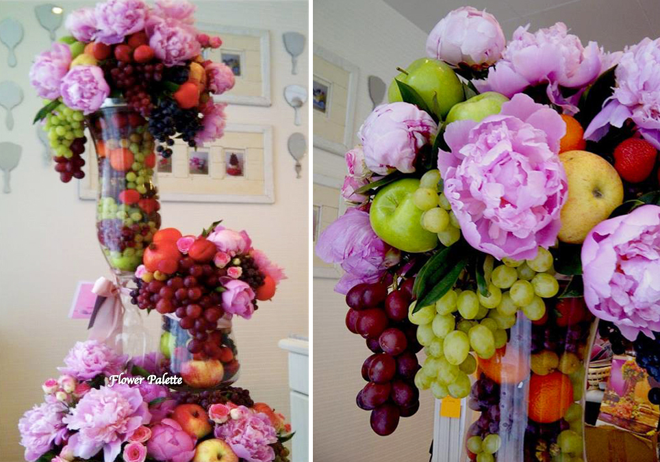 Fruit & Peonies centerpiece by Julia's Flower Palette, Abu Dhabi UAE