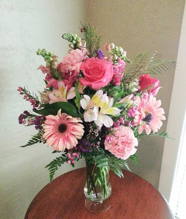 Pink flower arrangement by Cottage Flowers, Pasadena TX