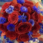 Red & Blue wedding bouquet by Colonial Flowers, Rochelle IL