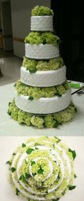 Wedding Cake with Green Hydrangeas by Expressions Flowers in Fort Smith Ar