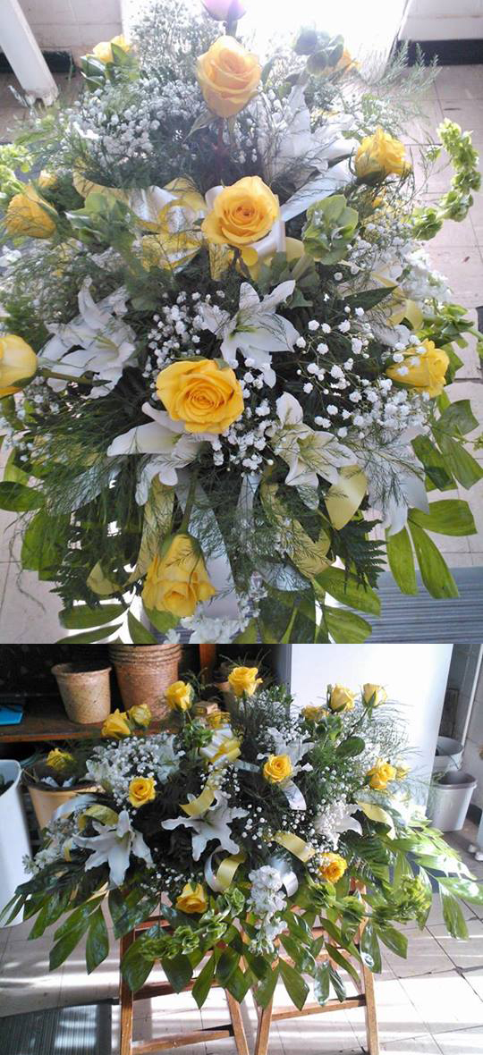 Yellow Roses and White Liy Sypmathy Tribute by Wilma's Flowers in Jasper AL