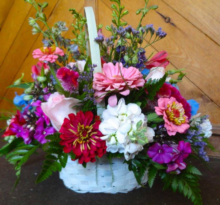 A basket bouquet from Montgomery Florist in Mongtomery, NY