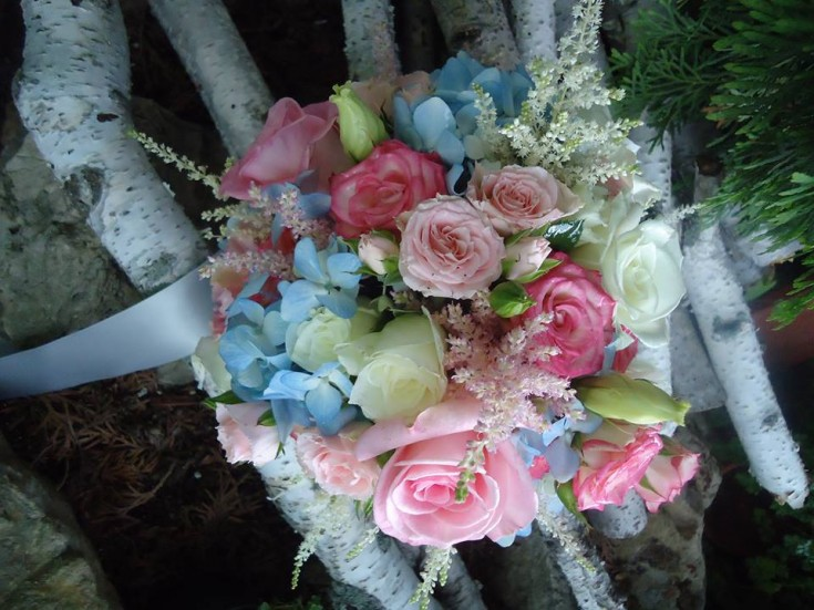 A bridesmaid's bouquet from Alma Blooms Florist in Alma, WI