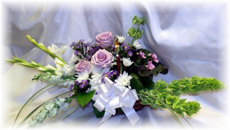 Lavender Funeral Basket by MaryJane's Flowers
