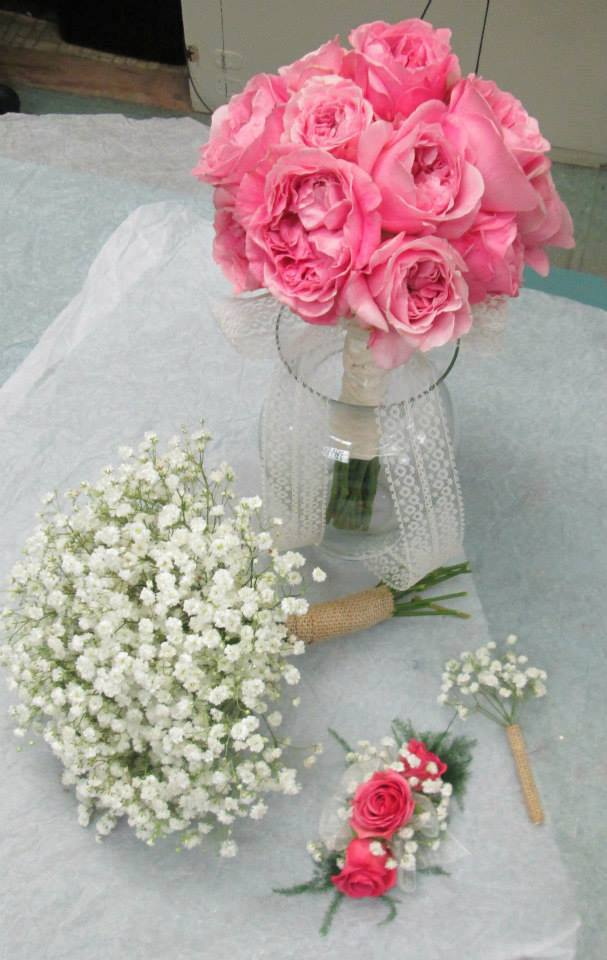 Pink Brides Bouquet with Baby's Breath by Inspriations