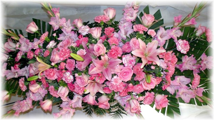 Pink Casket Cover by MaryJane's Flowers